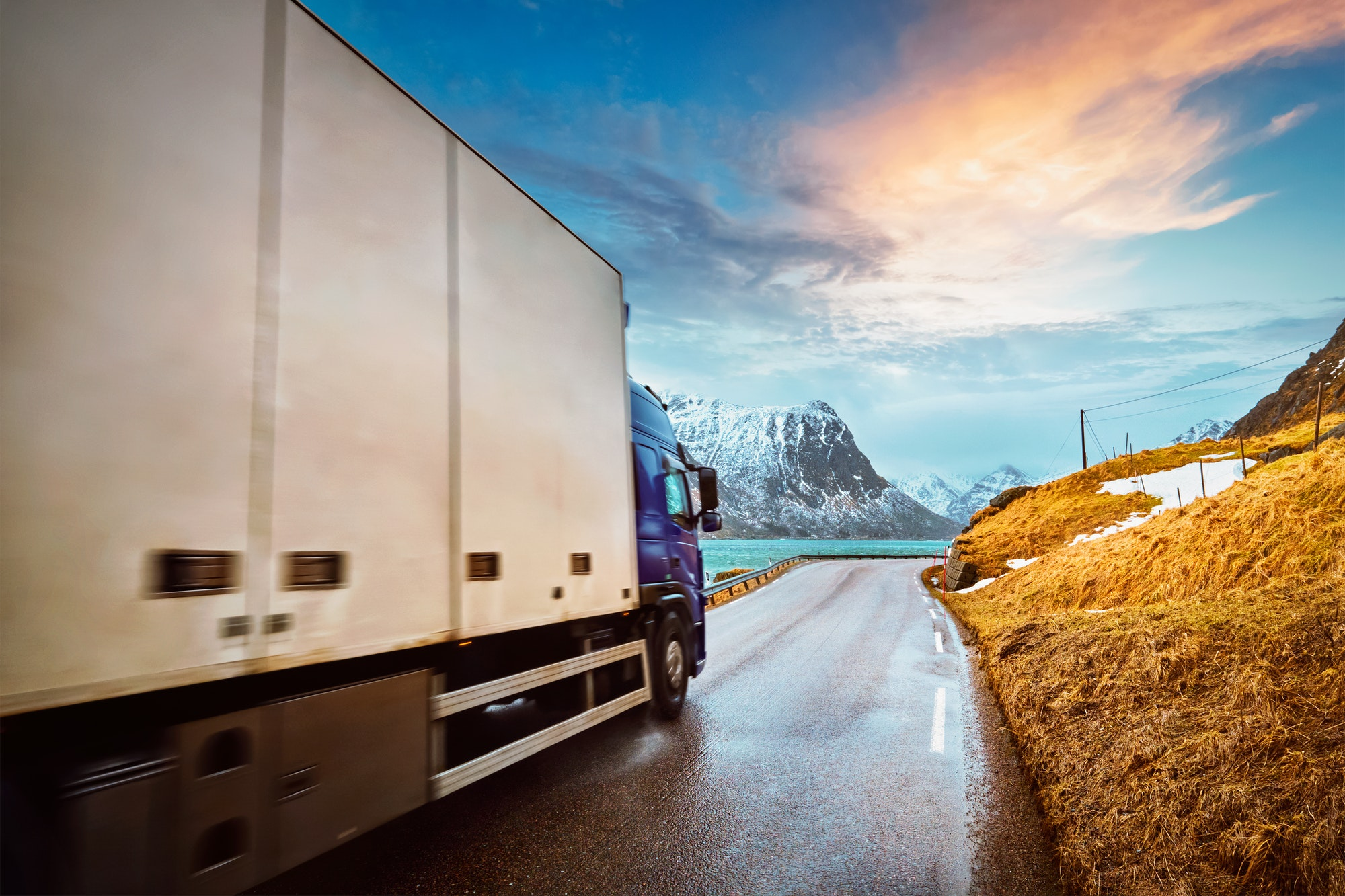 Truck on road in Norway