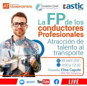 """Inscripción Jornada (28/04/2021): """"La FP de los conductores profesionales. Atracción de talento al transporte"""""""